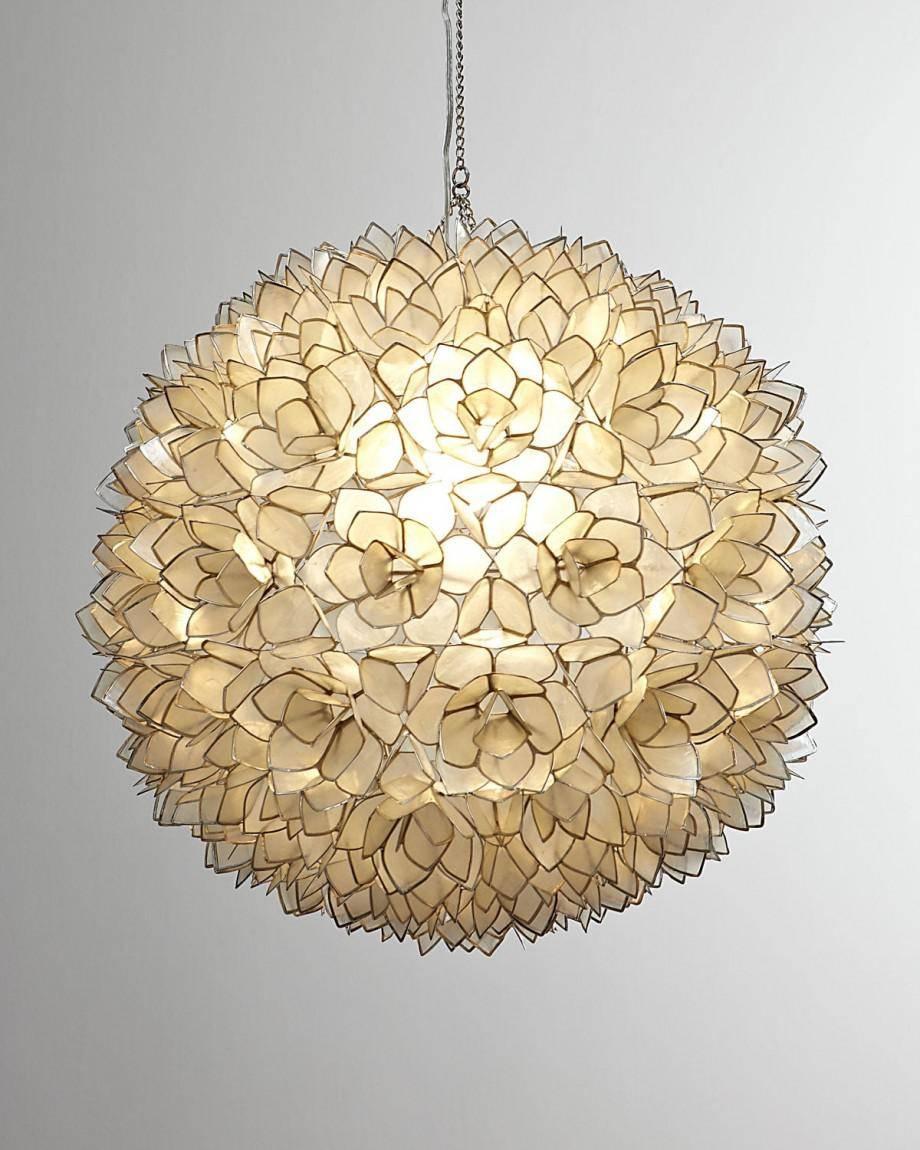 Lotus Pendant Light Seashell Chandelier Capiz Gold Rectangular Throughout Flower Pendant Lights (View 14 of 15)