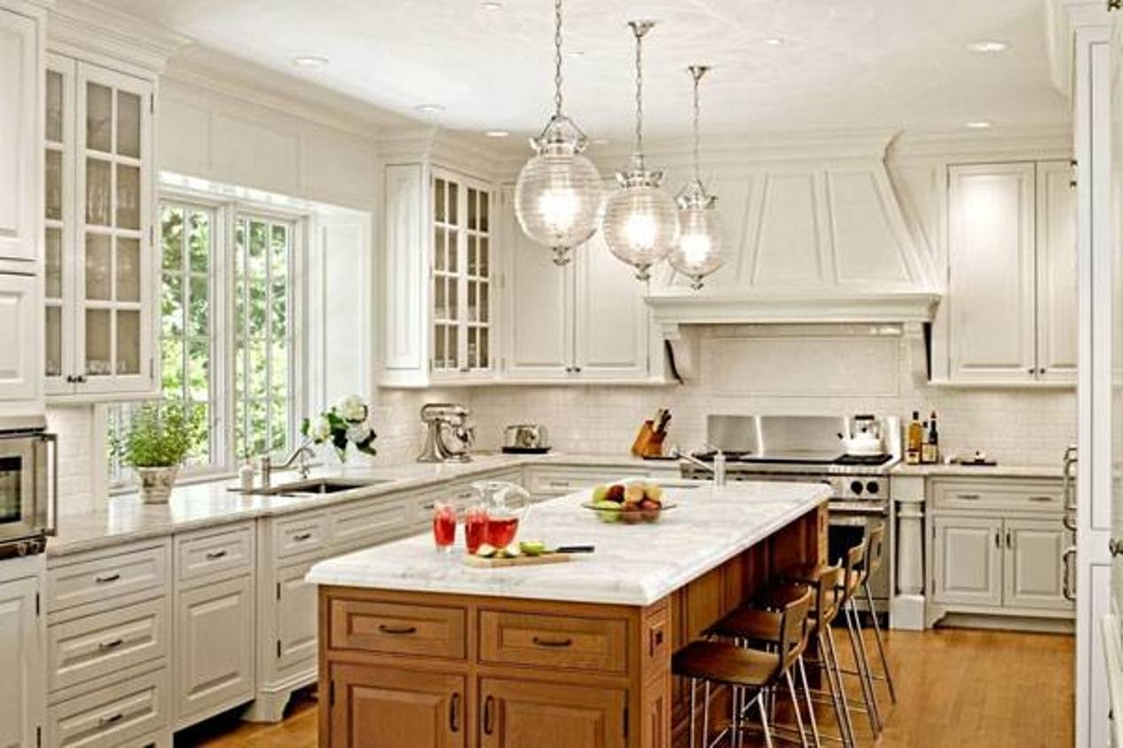 Lovely Mini Glass Chandelier Kitchen Pendant Lighting Over White Pertaining To Glass Kitchen Pendant Lights (View 3 of 15)