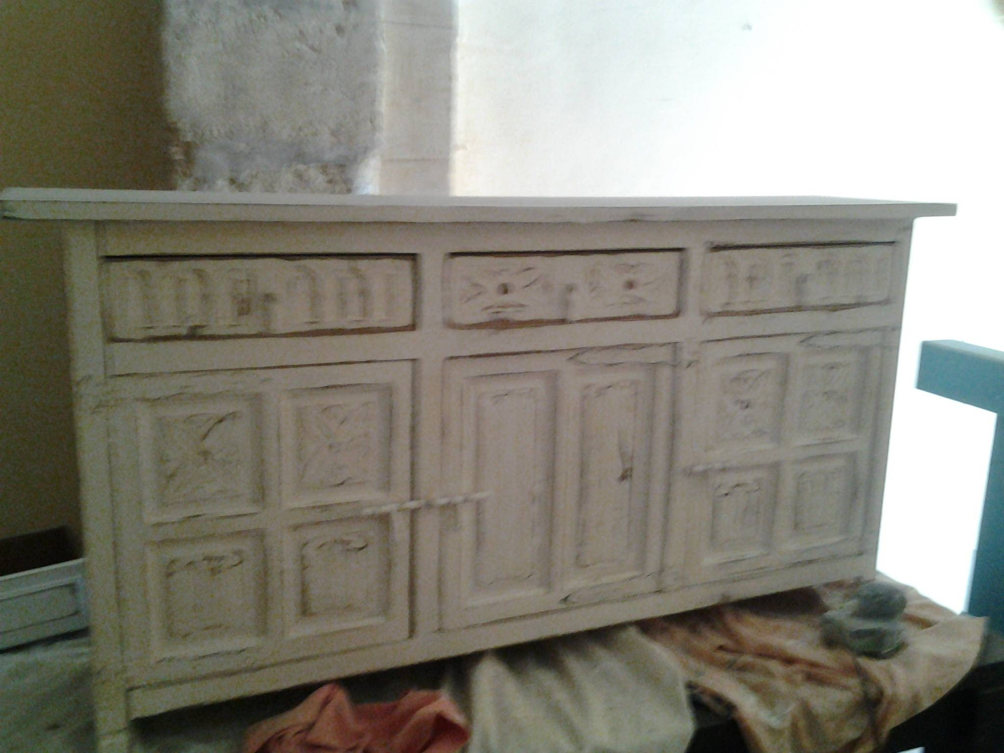 Mallorcan Distressed Sideboard 150Cms X 76 High X 36 Deep………445 inside Deep Sideboards (Image 7 of 15)