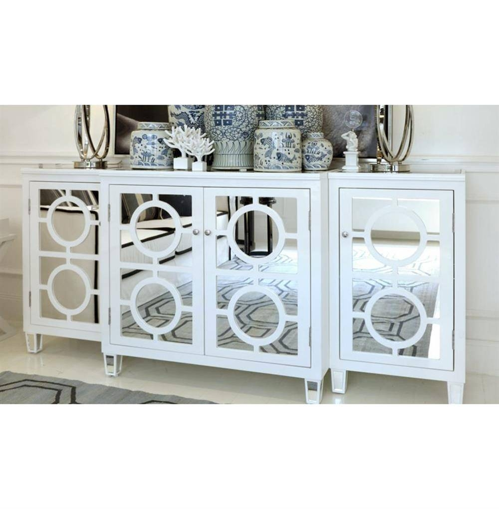Malta Global Bazaar White Lacquer Mirror Buffet Sideboard | Kathy within Mirror Sideboards (Image 8 of 15)