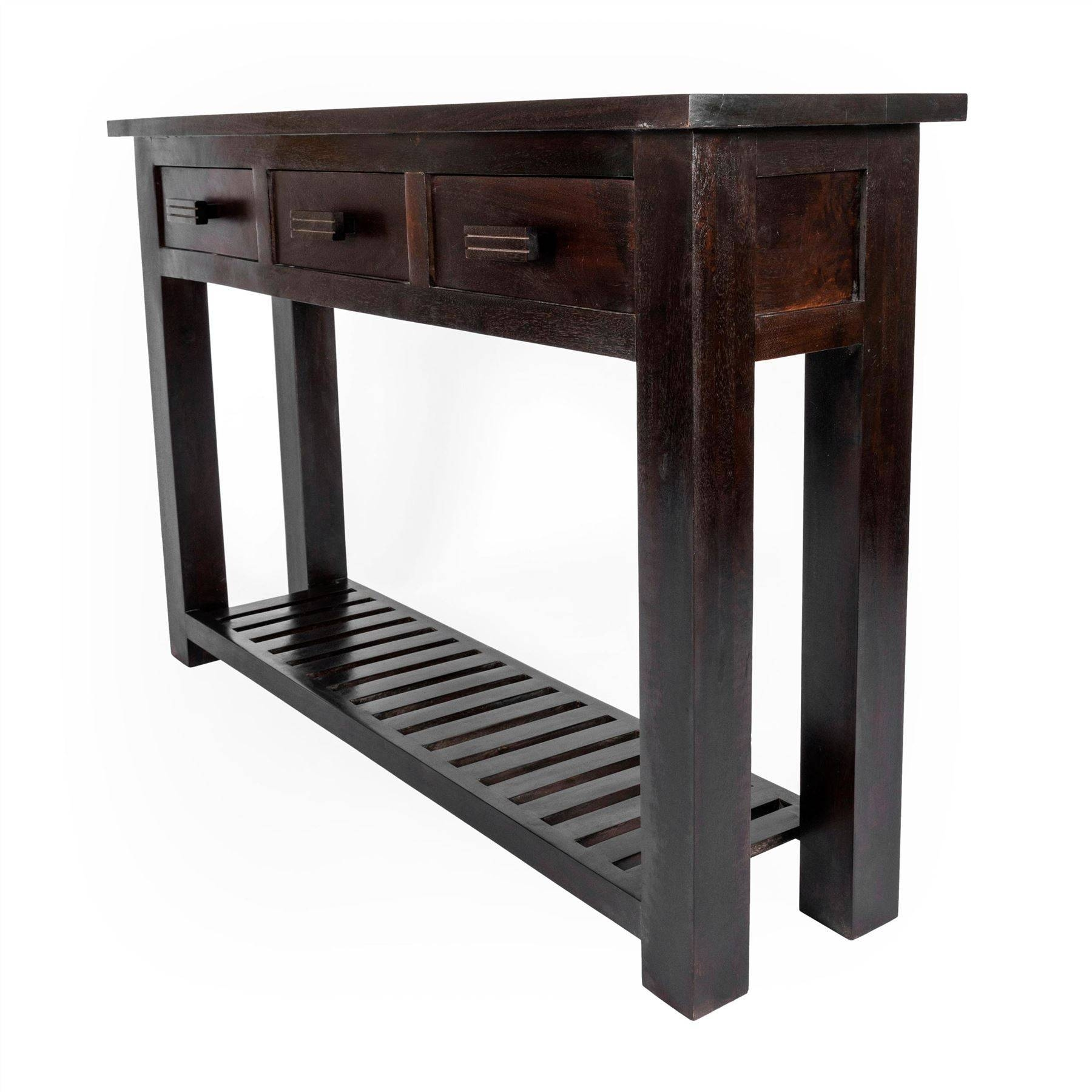 Mangat Solid Dark Wood Indian Furniture Tv Unit, Table Bookcase for Sideboard Tables (Image 9 of 15)