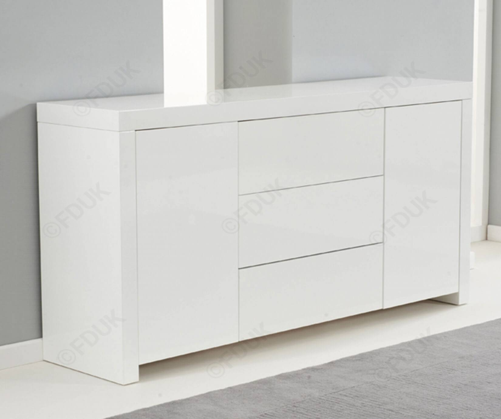 Mark Harris Hereford | Hereford White High Gloss Sideboard within Gloss Sideboard Furniture (Image 10 of 15)