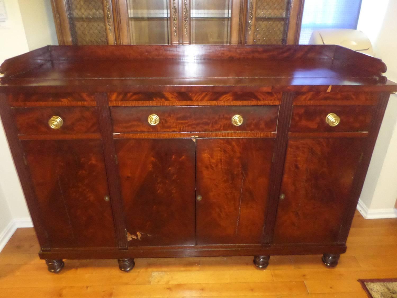 Massive 1800's Antique Mahogany Sideboard Server Buffet 8 Bun Feet for Mahogany Sideboards Buffets (Image 9 of 15)