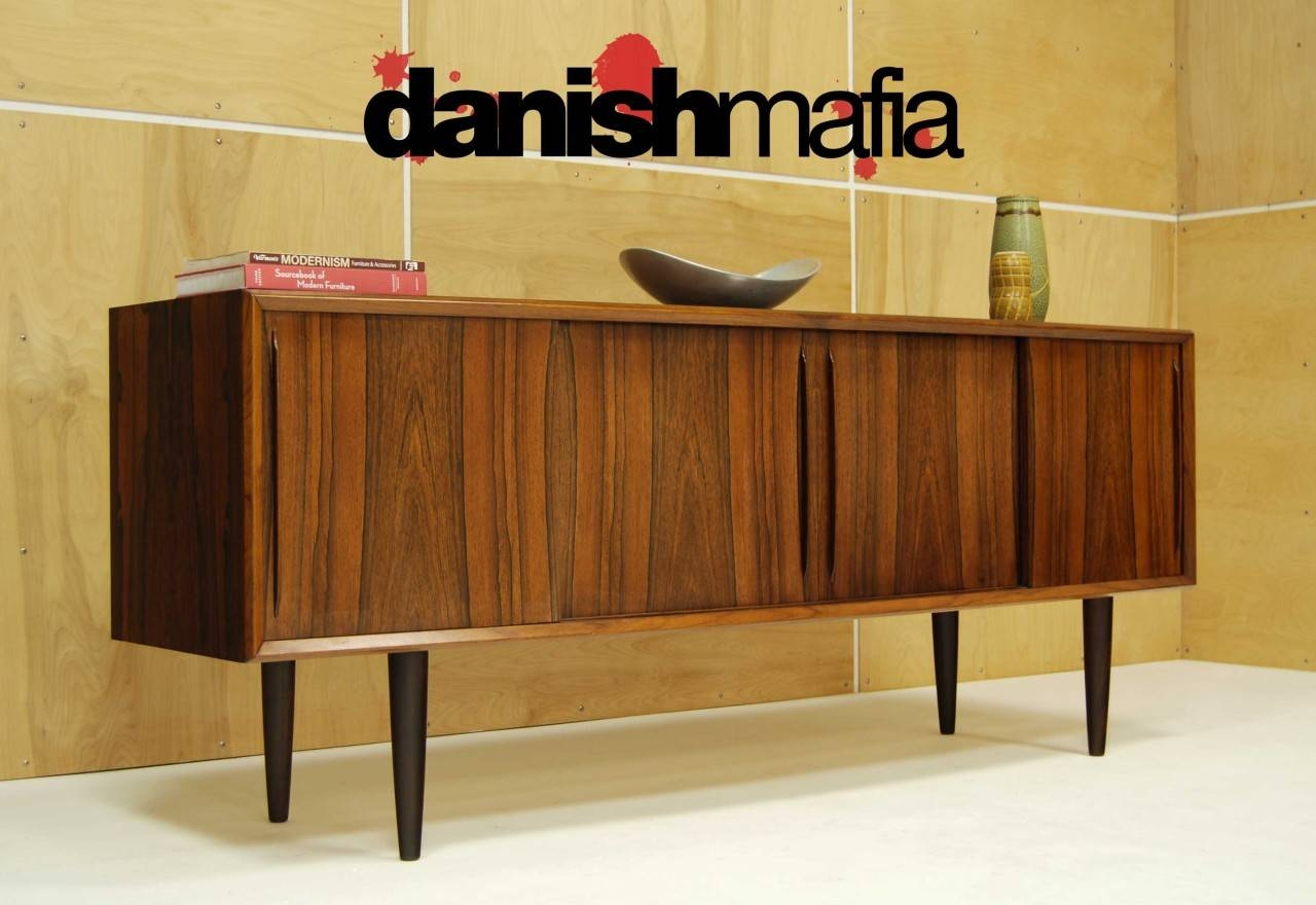 Mid Century Danish Modern Bow Front Rosewood Credenza Sideboard with regard to Credenza Sideboards (Image 9 of 15)