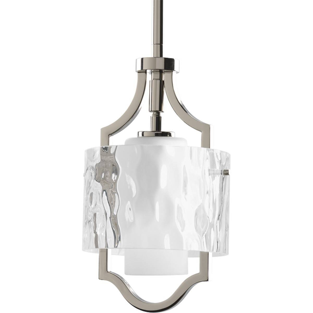 Mini Pendant Light Fixture With Etched Glass Diffuser Inside Clear In Etched Glass Pendant Lights (View 2 of 15)