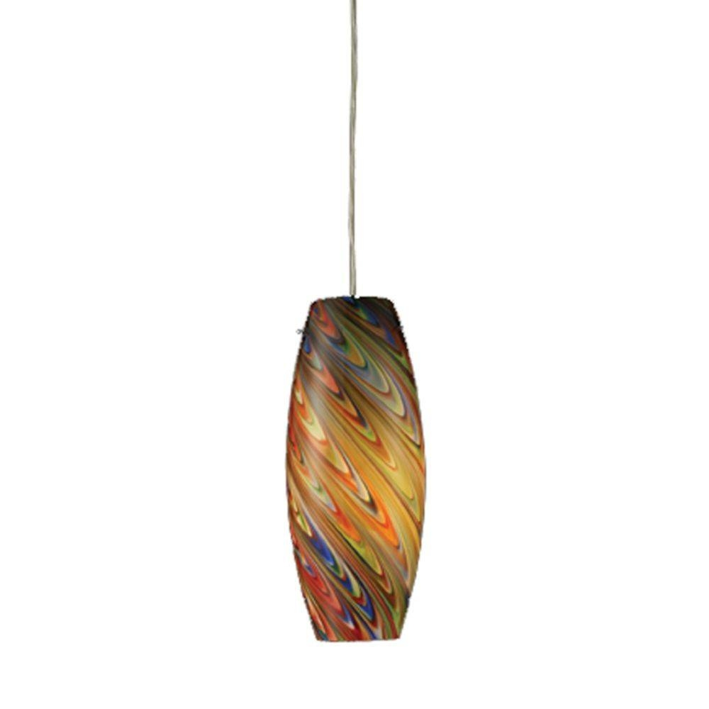 Mini Pendant With Rainbow Glass Shade | 10079/1Rv | Destination Regarding Shades Glass Mini Pendant Light (View 8 of 15)