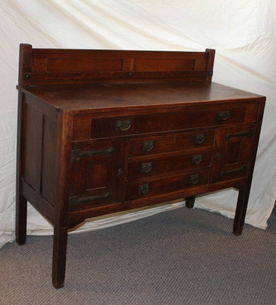 Mission Oak Antique Sideboard Buffet – Stickley Brothers – Arts Pertaining To Stickley Sideboards (View 11 of 15)