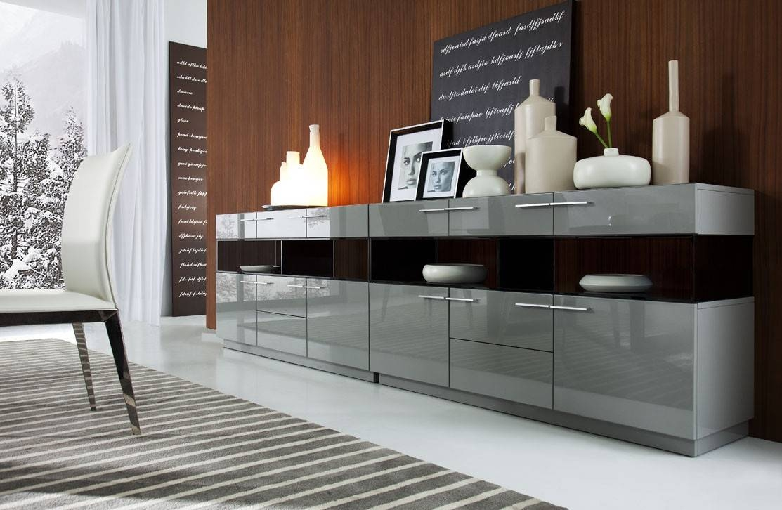 Modern Grey Gloss Buffet within Contemporary Sideboards And Buffets (Image 11 of 15)