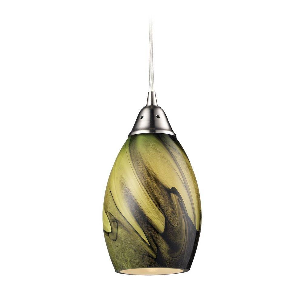 Modern Mini Pendant Light With Green Glass | 31133/1Pln In Shades Glass Mini Pendant Light (View 10 of 15)