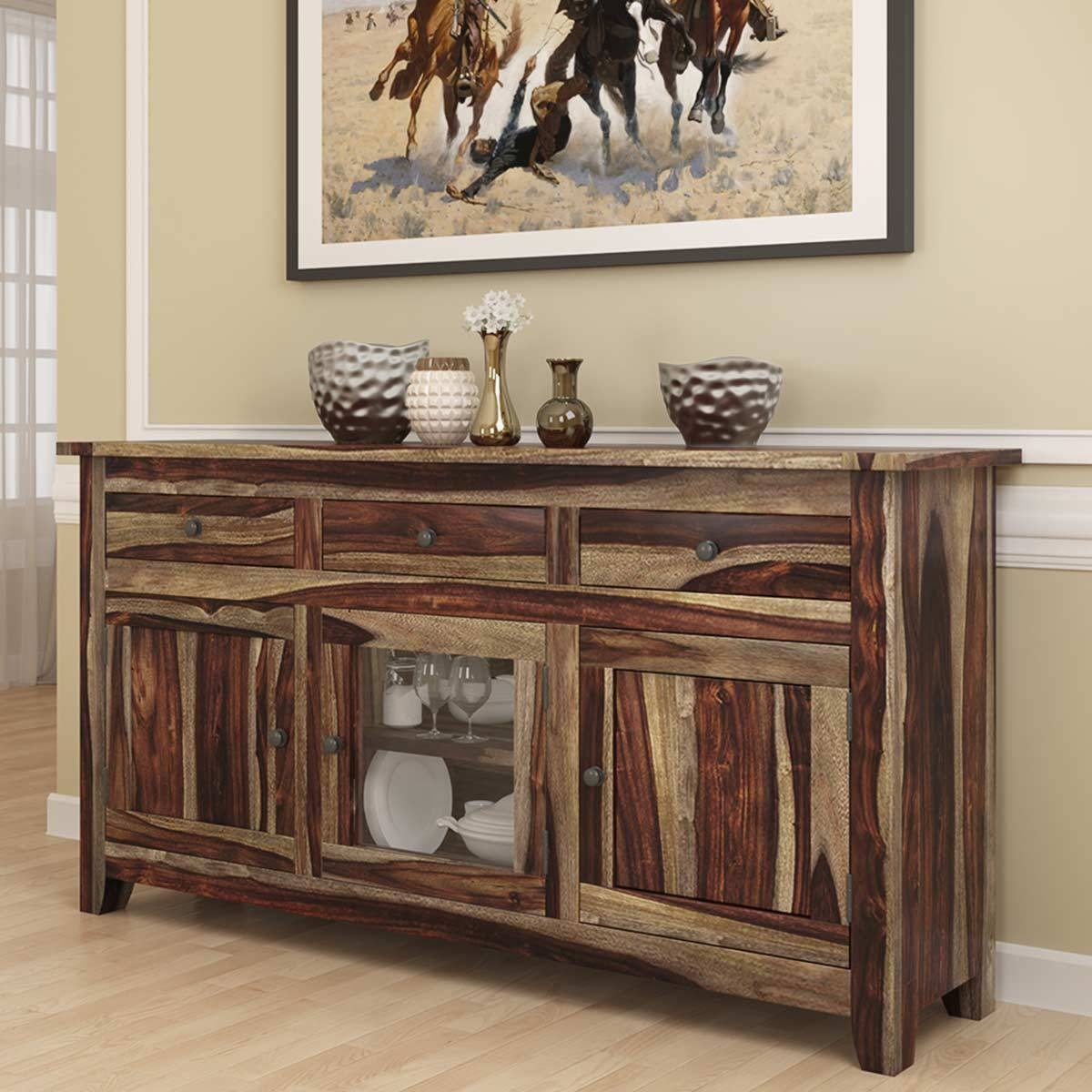 Modern Rustic Solid Wood Glass Door 3 Drawer Sideboard Cabinet Pertaining To Sideboards With Glass Doors And Drawers (View 9 of 15)