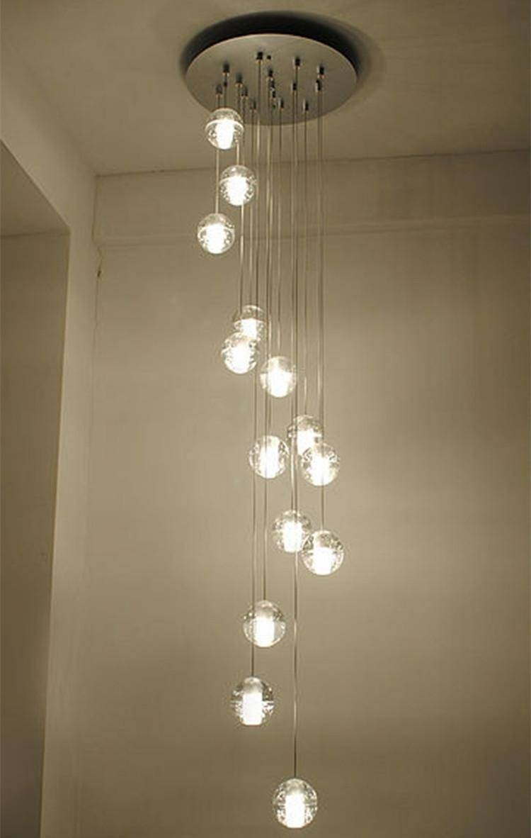 Modern Stairwell Led Chandelier Lighting Large Bubble Crystal Ball For Bubble Pendant Light Fixtures (View 8 of 15)