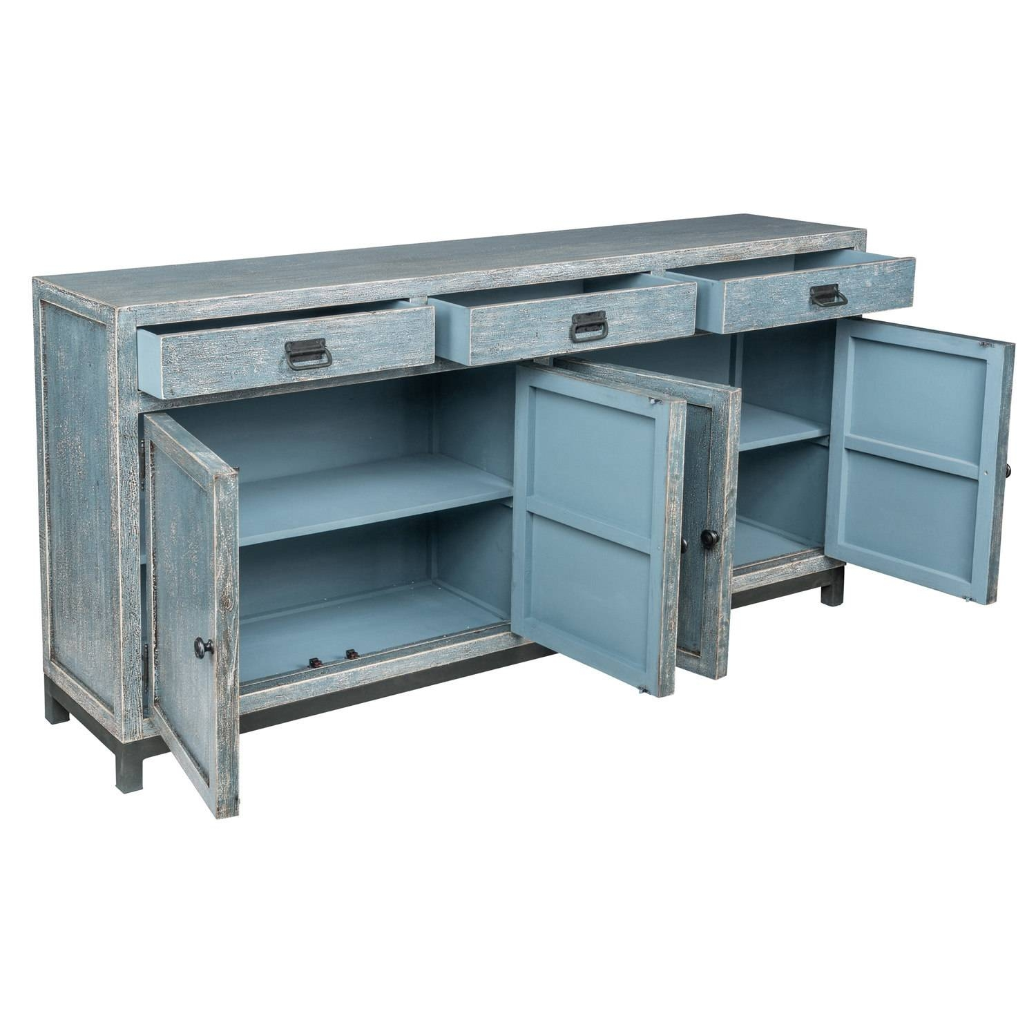 Morton Reclaimed Wood 76-Inch Teal Sideboardkosas Home - Free throughout 14 Inch Deep Sideboards (Image 12 of 15)