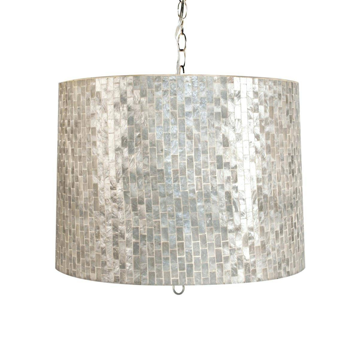 Mother Of Pearl Pendant Light Drum Shade Shell Chandeliers With In Shell Pendant Lights (View 10 of 15)