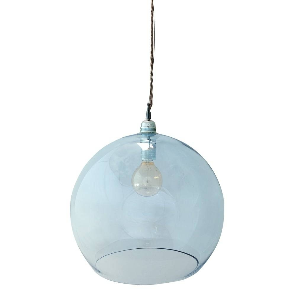 Mouthblown Globe Large Topaz Blue Glass Pendant – Lighting And Lights Throughout Blue Glass Pendant Lights (View 7 of 15)