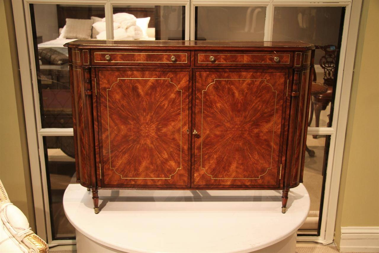 Narrow Mahogany Regency Buffet Or Console Table With Brass Inlay in Mahogany Sideboards Buffets (Image 10 of 15)