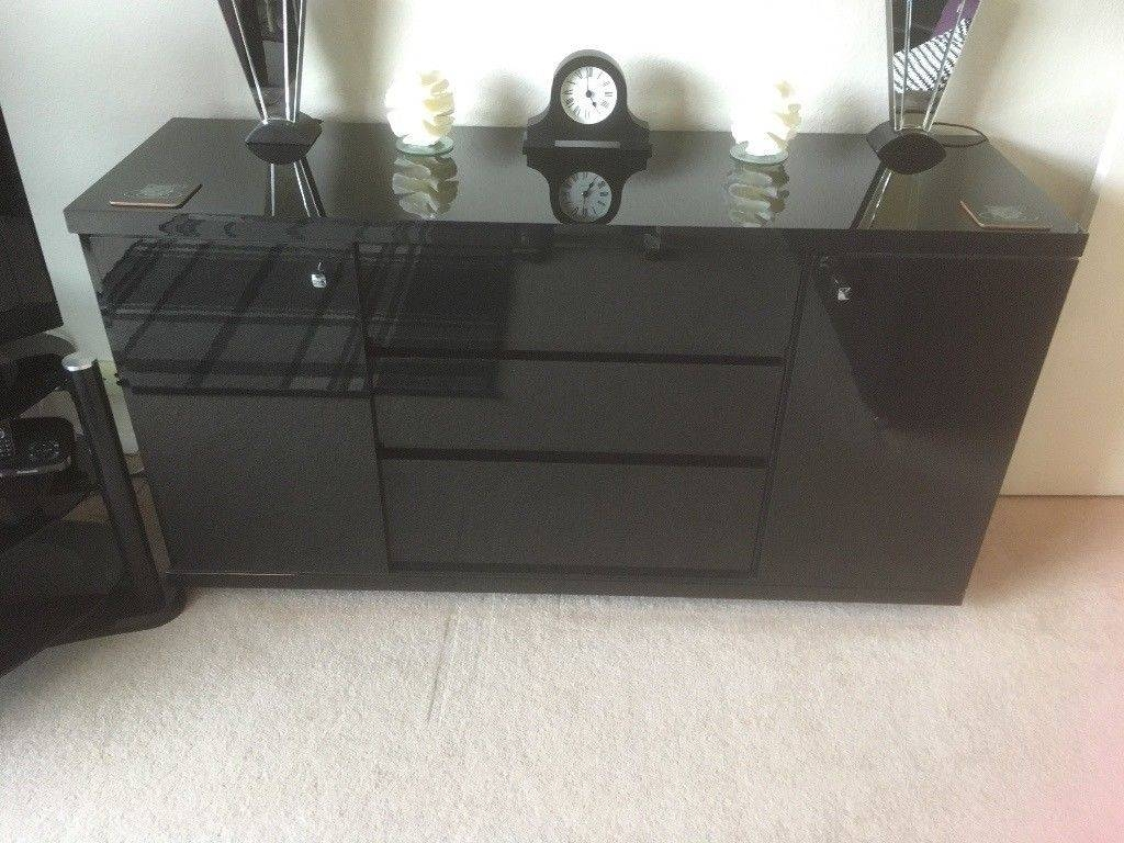 Next Black High Gloss Sideboard For Sale | In Goring By Sea, West For Next Black Gloss Sideboards (Photo 3 of 15)