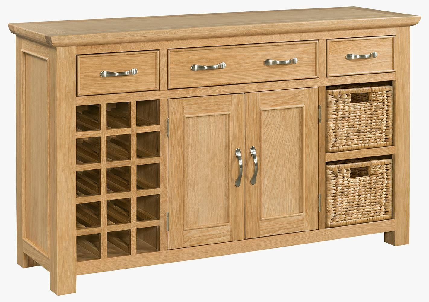 Oak Large Sideboard With Wine Rack (Sie054) - Solid Wood & Painted within Wine Sideboards (Image 6 of 15)