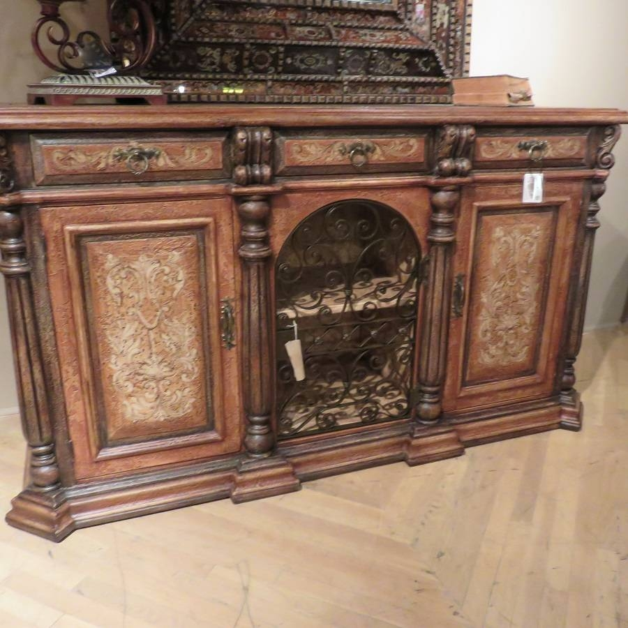 Olde World Rustic Iron Sideboard Buffet With Wrought Iron Scroll In Hand Painted Sideboards (Photo 4 of 15)