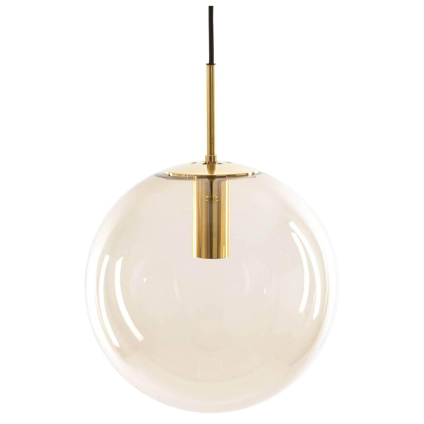 One Of Ten Limburg Globe Pendant Lights Brass And Smoked Glass For With Glass Ball Pendant Lights (View 14 of 15)