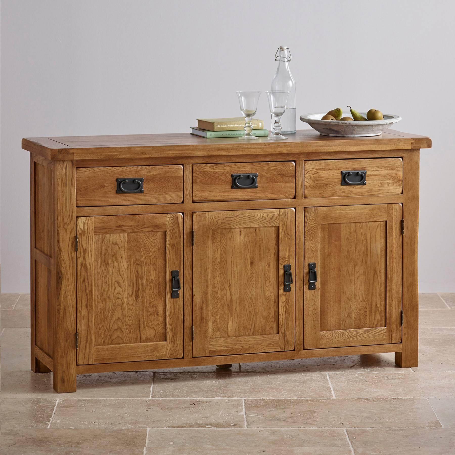 Original Rustic Solid Oak Large Sideboard | Sideboards | Dining regarding Rustic Oak Large Sideboards (Image 14 of 15)
