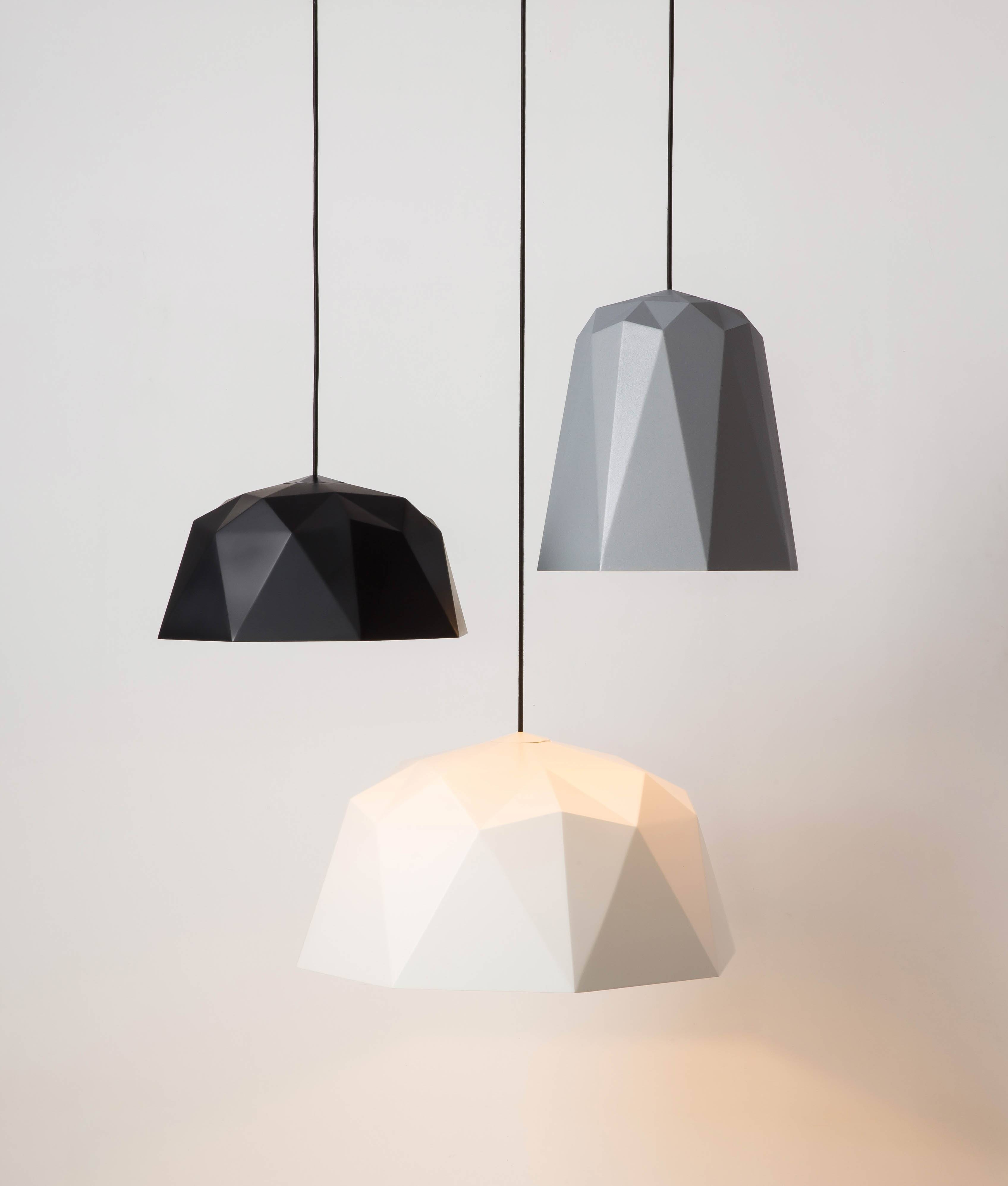 Osaka Geometric Pendant Light In White, Black, & Silver With Regard To Pendant Light Shades (View 3 of 15)