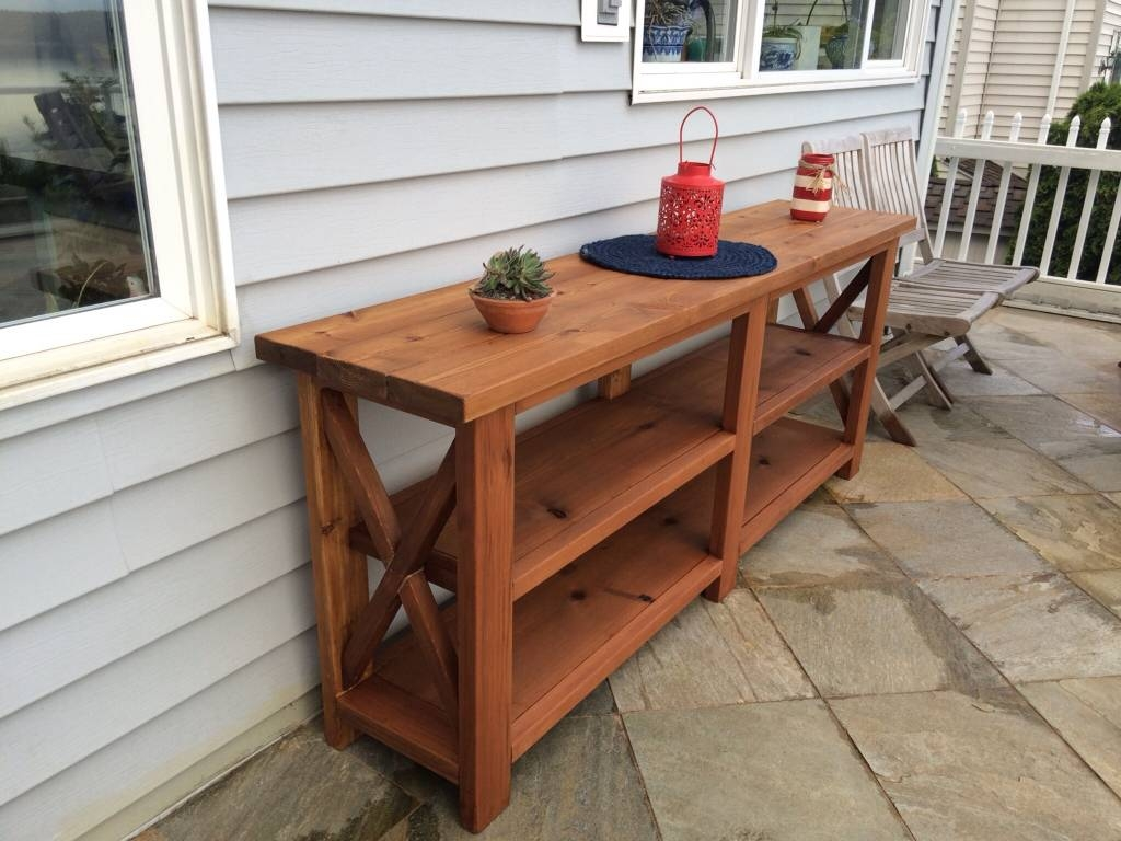 Outdoor Rustic Espresso Brown Finish Eucalyptus Wood Buffet Server inside Outdoor Sideboard Cabinets (Image 8 of 15)