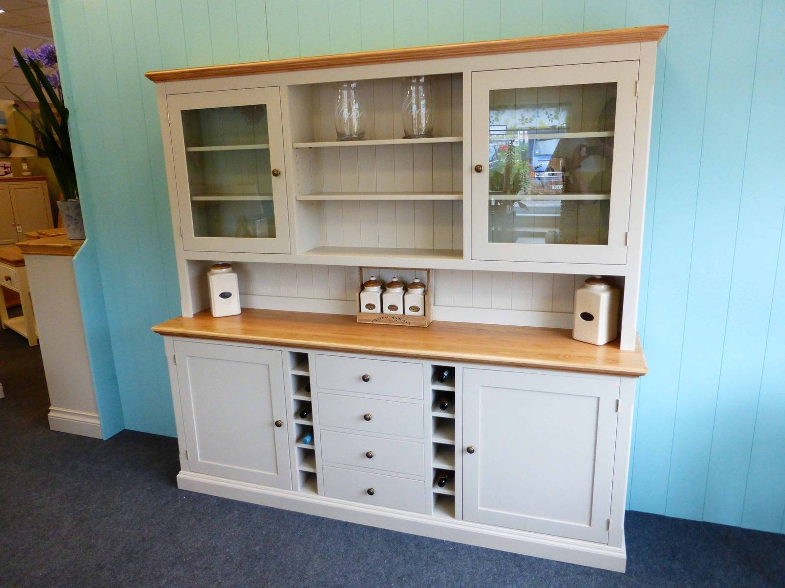 Painted Dresser With Wine Rack - Bespoke Kitchen And Dining Room in Kitchen Dressers and Sideboards (Image 9 of 15)