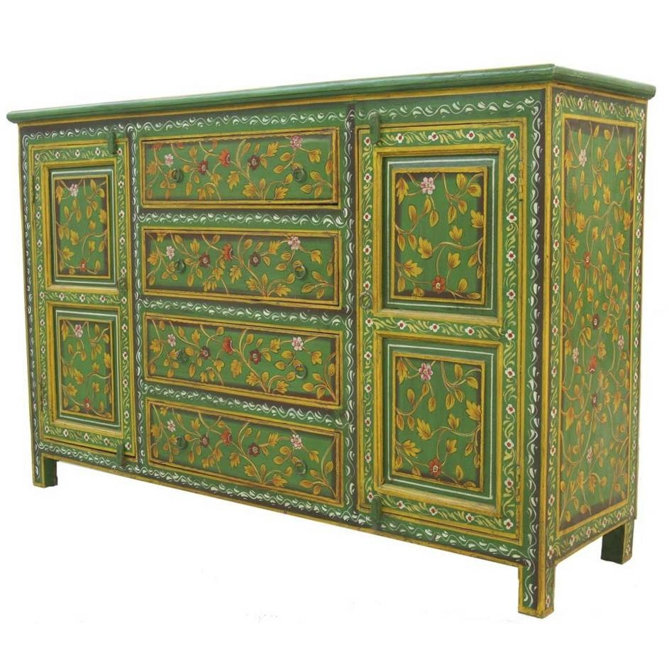 Painted Indian Sideboards For Sale | Iris Furnishing Ltd in Green Sideboards (Image 3 of 15)