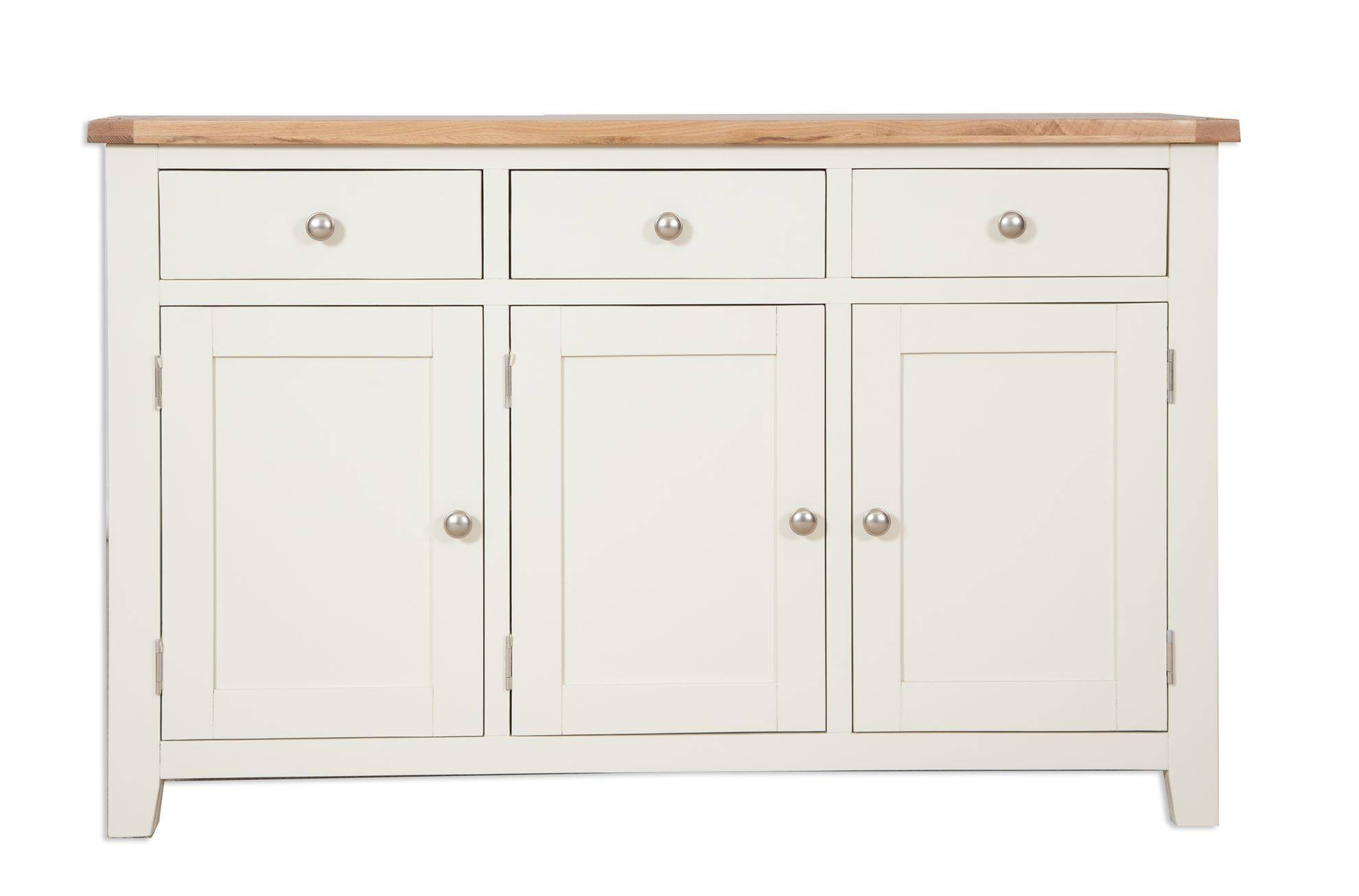 Painted Ivory Three Drawer Sideboard - Cambridge Home & Garden inside Cream and Oak Sideboards (Image 10 of 15)