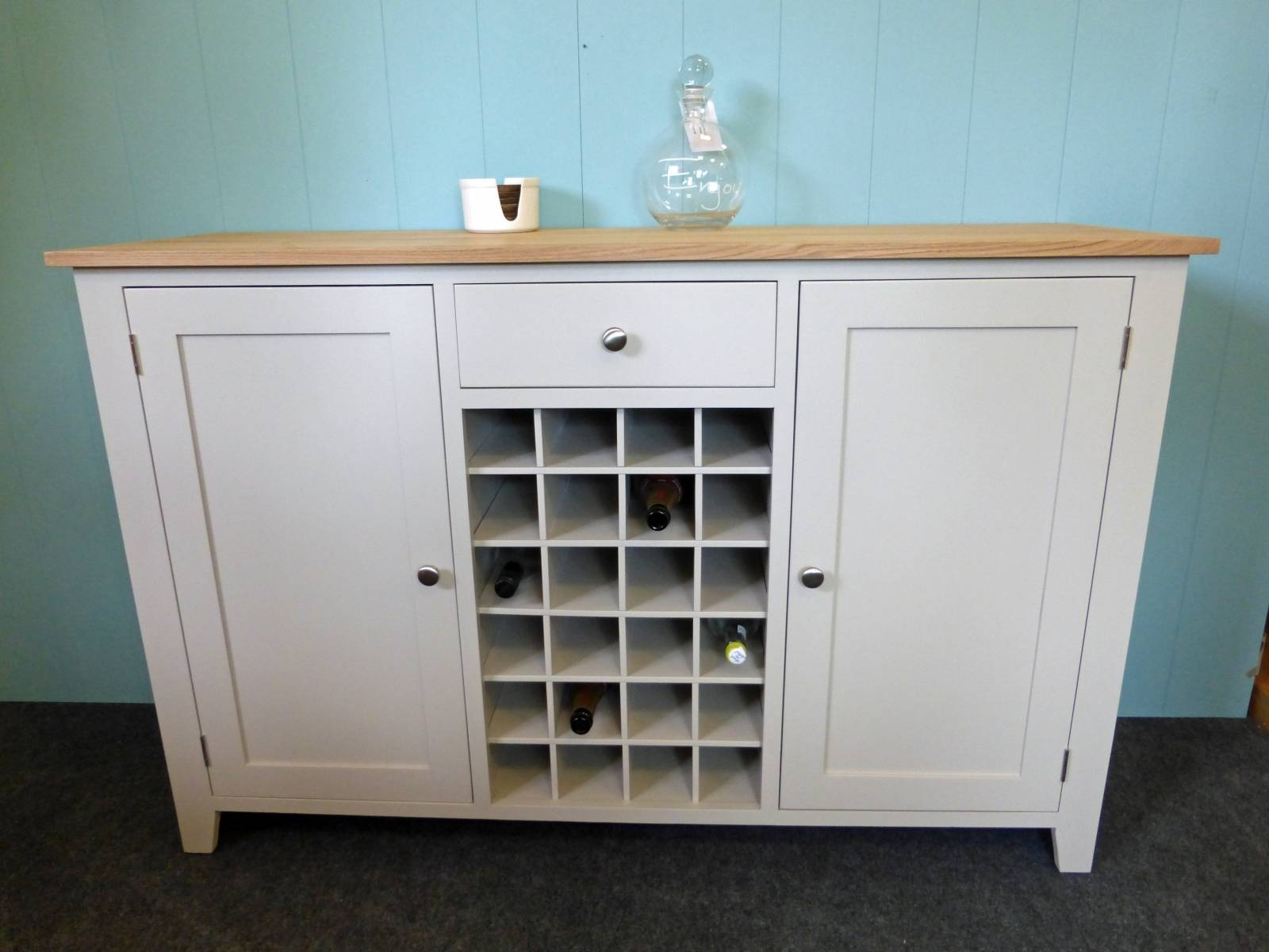 Painted Shaker Style Sideboard With Wine Rack – Solid Wood Throughout Painted Sideboards (View 13 of 15)