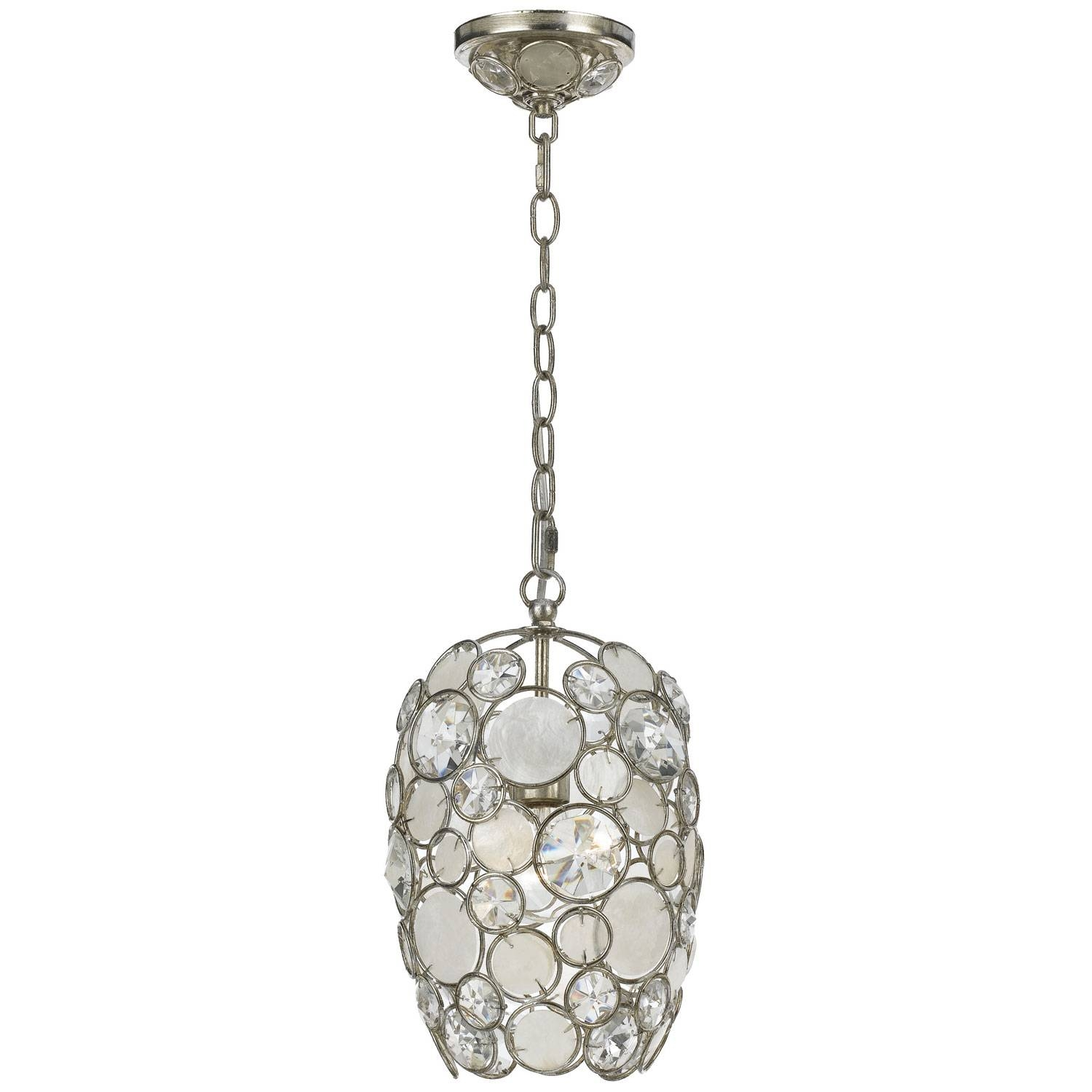 Palla Antique Silver One Light Mini Pendant With Natural White Within Shell Pendant Lights (View 11 of 15)
