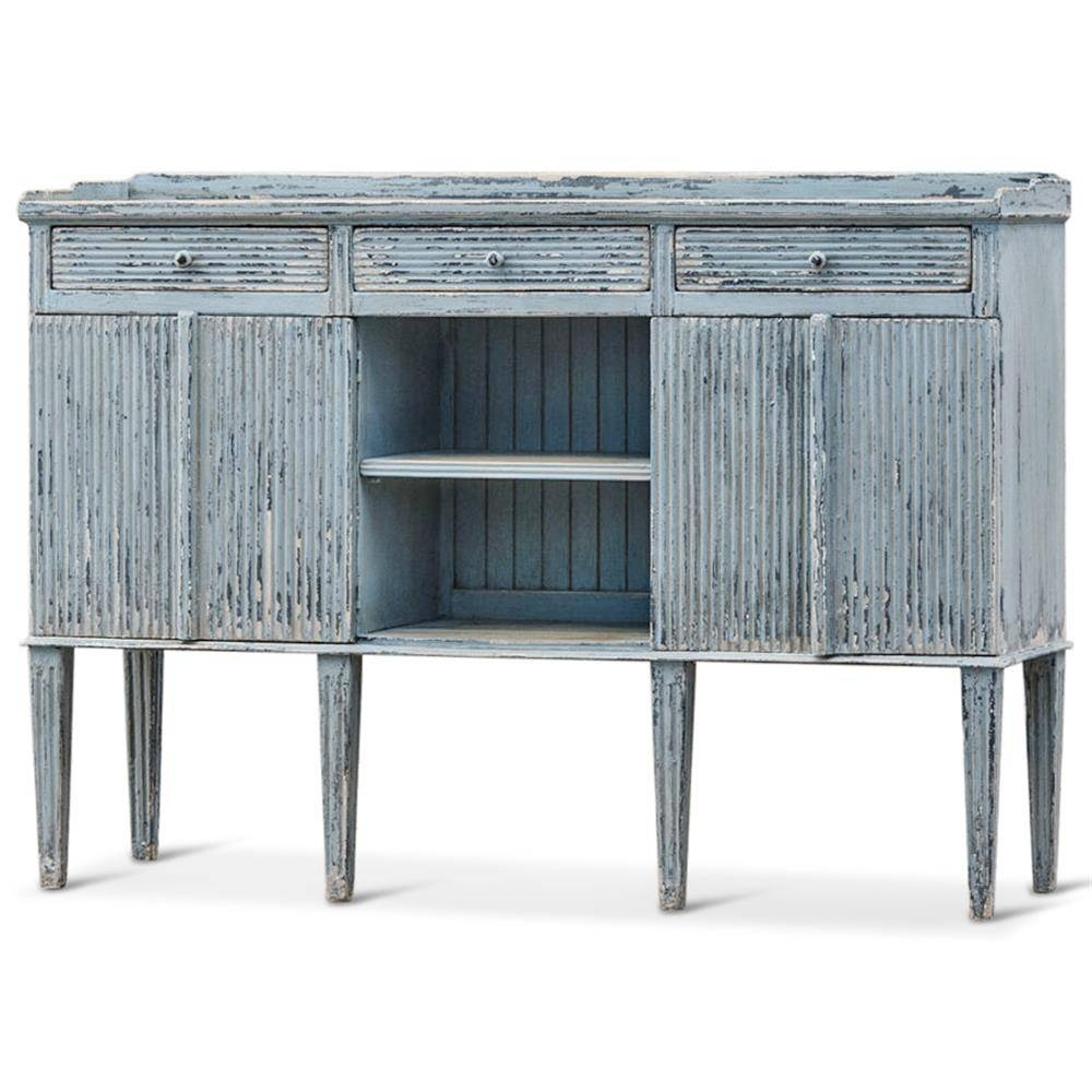 Peitro French Country Weathered Antique Blue Wood Sideboard Buffet With Blue Buffet Sideboards (View 13 of 15)