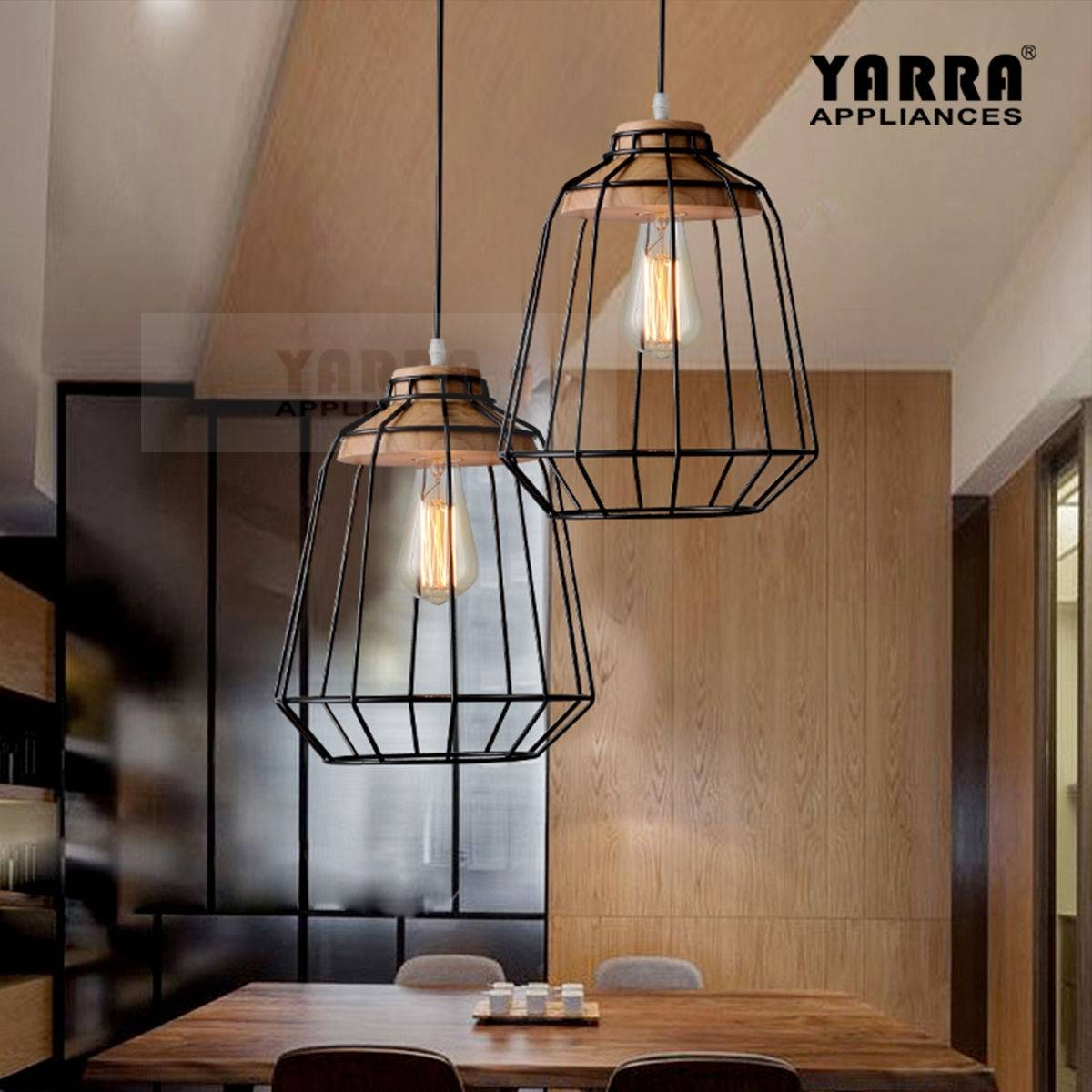Pendant Light Industrial Metal Cage Lighting Timber Lamp Minimal Throughout Timber Pendant Lights (View 11 of 15)
