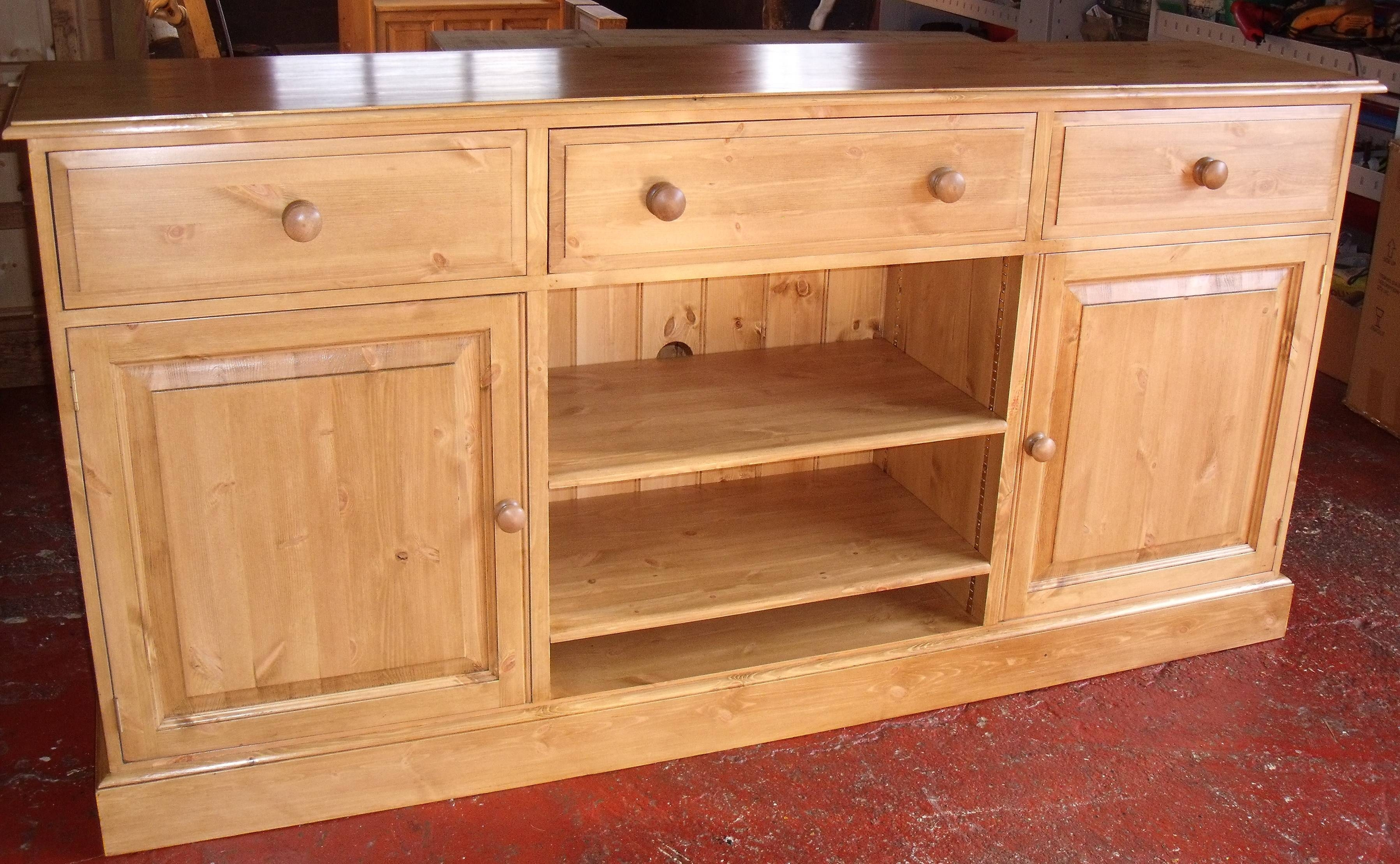 Pine Edwardian Waxed Tv Media Unit Combination Sideboard With 3 With Pine Sideboards (View 5 of 15)