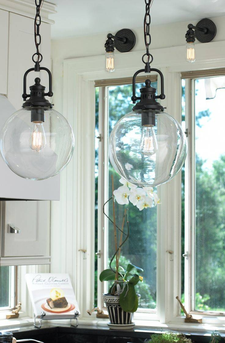 Popular Of Clear Glass Globe Pendant Light With Interior Intended For Bronze Globe Pendant Lights (View 13 of 15)