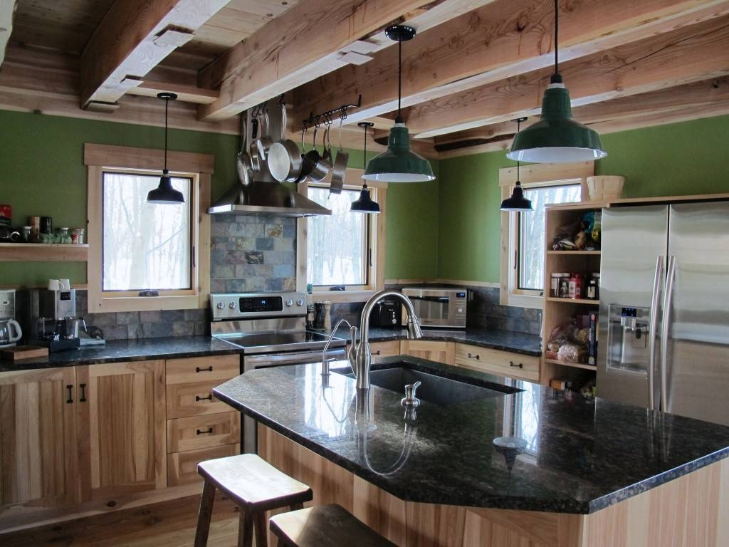 Porcelain Enamel Lighting Gives New Green Home A Rustic Look Within Rustic Pendant Lighting For Kitchen (View 10 of 15)