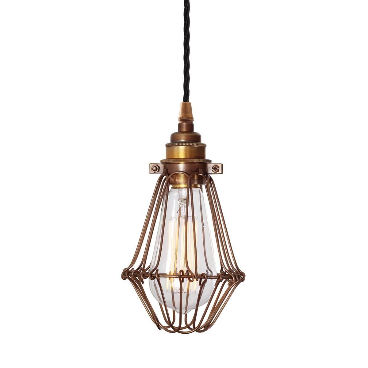 Praia Industrial Cage Pendant Light Bronze | Mullan Lighting in Bronze Cage Pendant Lights (Image 12 of 15)