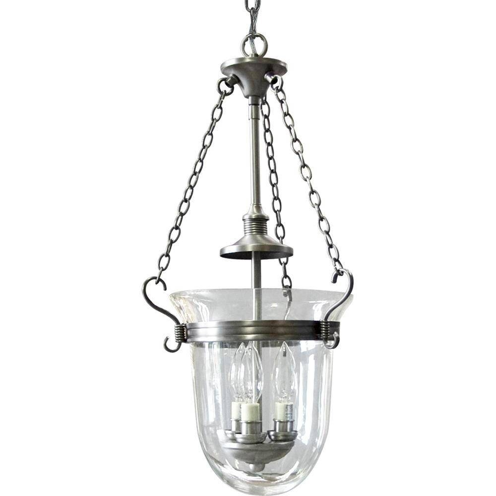 Progress Lighting Essex Collection 3-Light Antique Nickel Foyer throughout Inverted Pendant Lighting (Image 11 of 15)