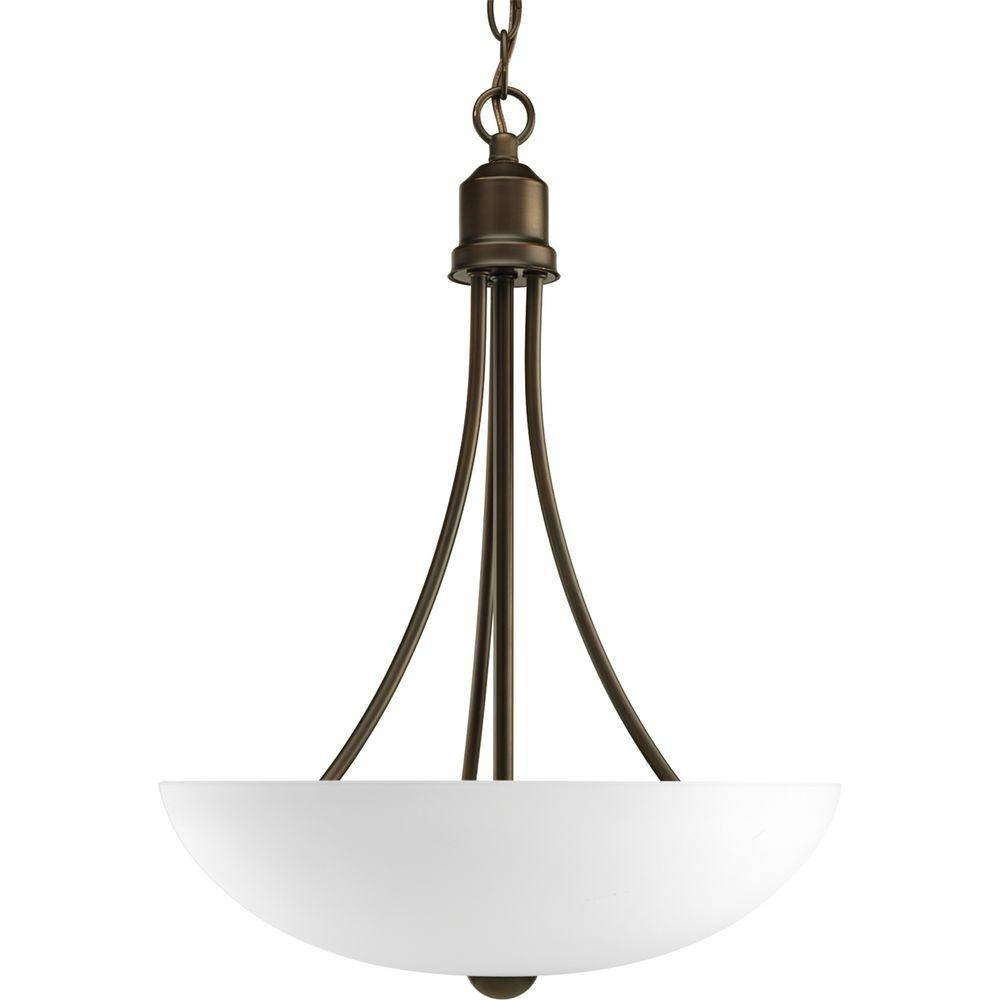 Progress Lighting Gather Collection 2-Light Brushed Nickel Foyer regarding Inverted Pendant Lighting (Image 12 of 15)