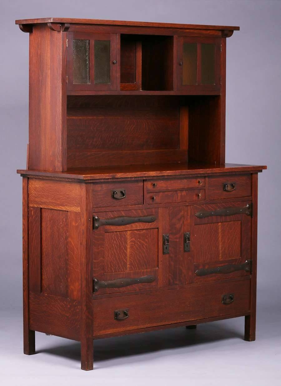 Rare L&jg Stickley Sideboard Hutch C1905 | California Historical Intended For Stickley Sideboards (View 9 of 15)
