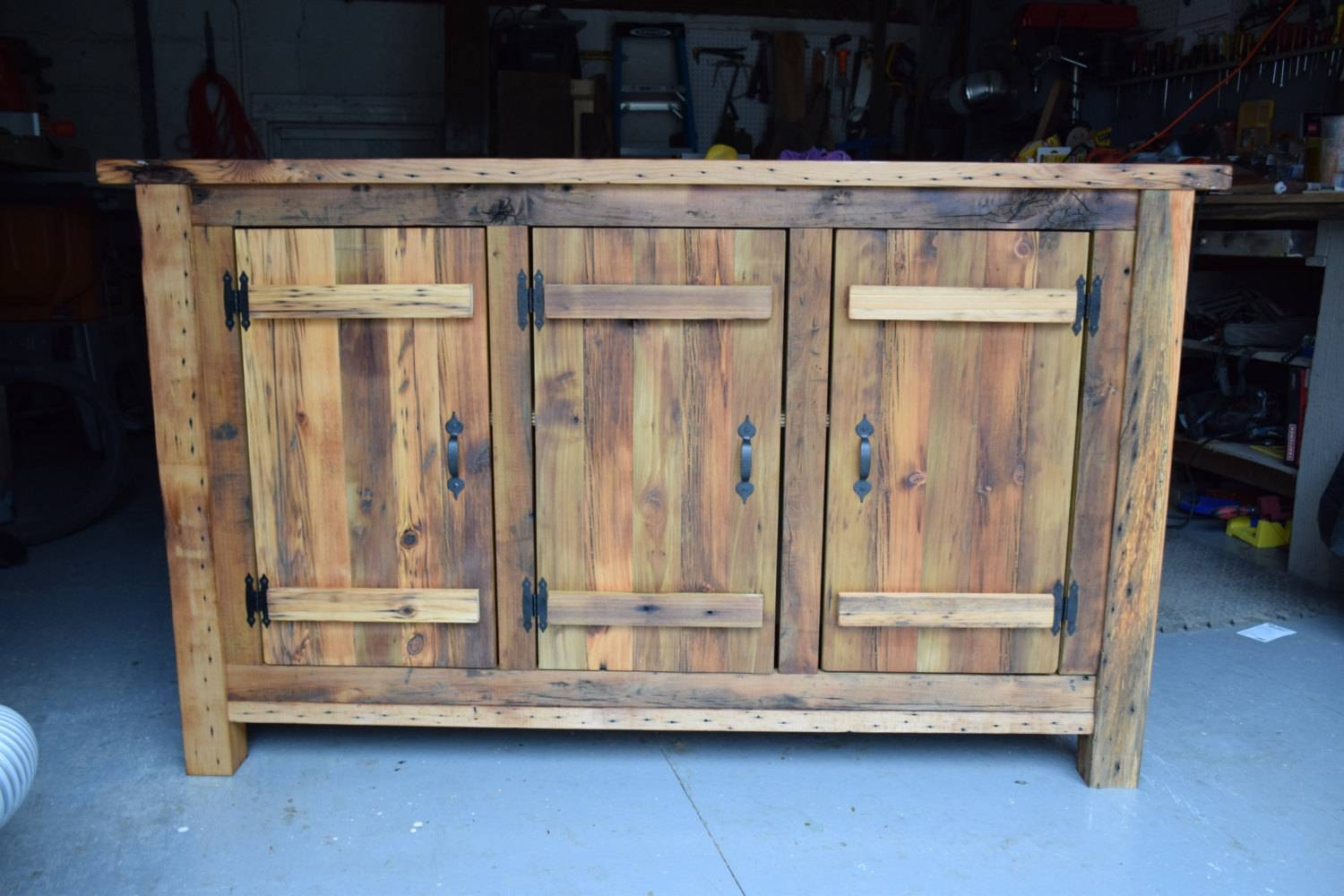 Reclaimed Wood Rustic Buffet Farmhouse Buffet Table Entryway intended for Reclaimed Wood Sideboards (Image 9 of 15)