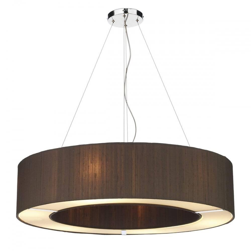 Retro Style Large Circular Dark Brown Silk Pendant Light Shade On For Pendant Light Shades (View 12 of 15)