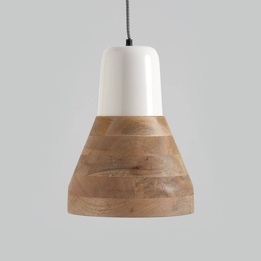 Reykjav K White And Wood Pendant Light With Regard To Wooden Pendant Lighting (View 6 of 15)