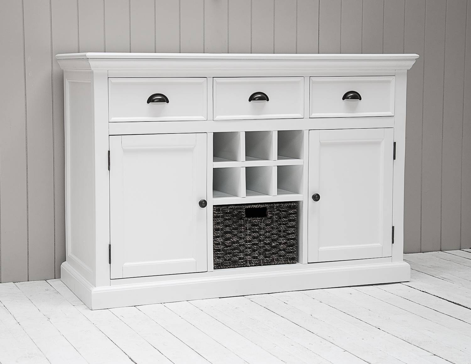 Richmond Painted Pine Large Sideboard With Wicker Basket And Wine Rack Within White Pine Sideboards (View 3 of 15)