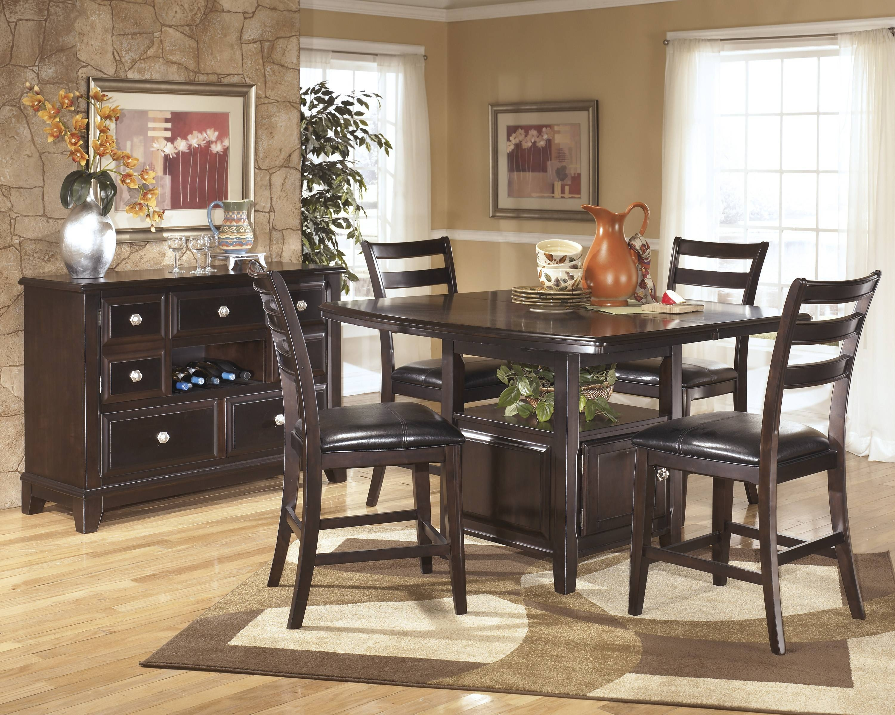 Ridgley Dark Brown 6 Pc Counter Height Dining Table Barstools And With Regard To Black Dining Room Sideboards (View 4 of 15)