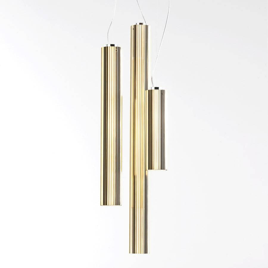Rifly™ Modern Suspension Light With Metallic Gold Finish From Inside Long Pendant Lighting (View 3 of 15)