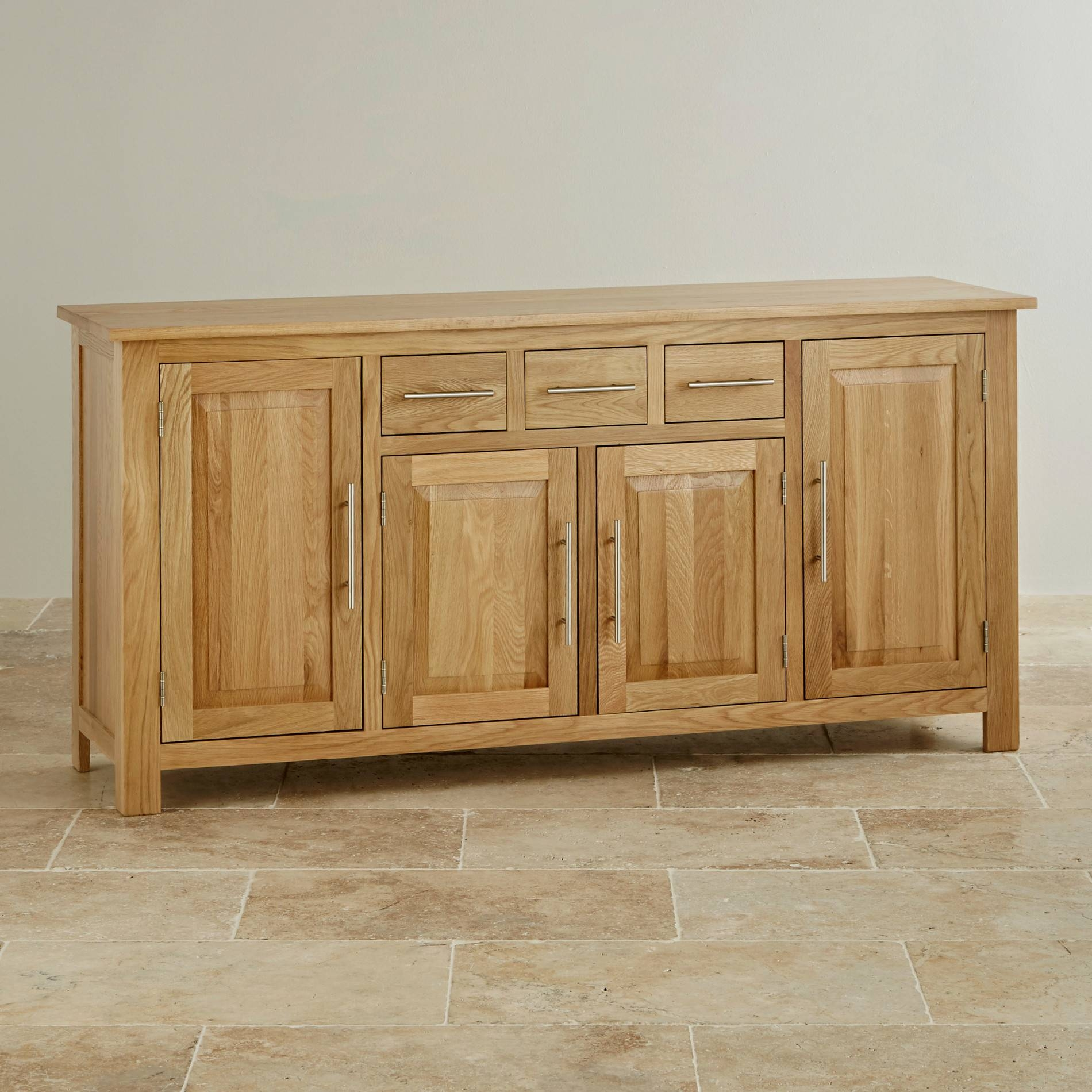 Rivermead Natural Solid Oak Large Sideboard | Oak Furniture Land In Solid Wood Sideboards (View 9 of 15)