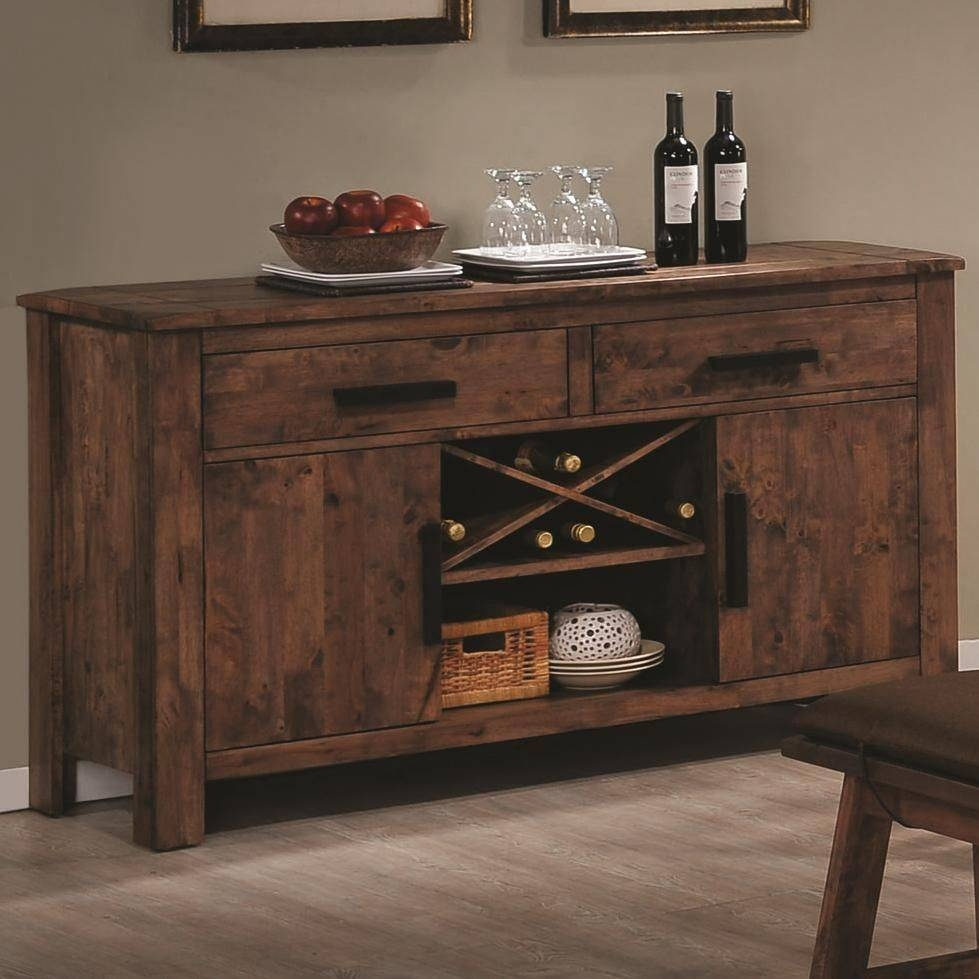 Rustic Indoor Dining Room Design With Maddox Brown Wood Sideboard Regarding Sideboard Buffet Tables (View 13 of 15)