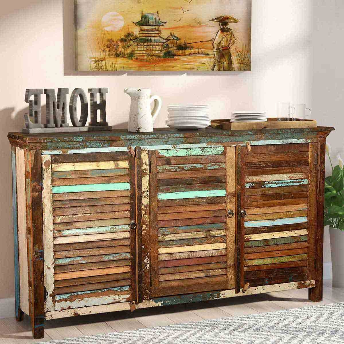 Rustic Reclaimed Wood Shutter Door Buffet Cabinet with regard to Reclaimed Wood Sideboards (Image 12 of 15)