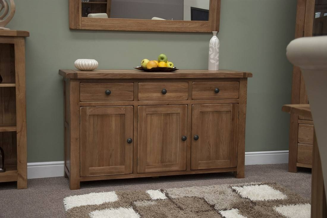 Rustic Solid Oak Large 3 Door Sideboard | Oak Furniture Uk In Solid Wood Sideboards (View 8 of 15)